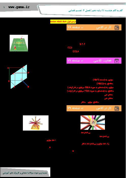 راهنمای گام به گام هندسه (1) دهم رشته ریاضی | فصل 4: تجسم فضایی