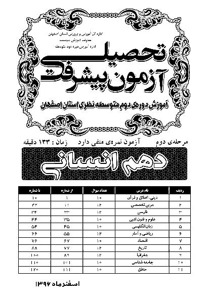 دفترچه سؤالات آزمون پیشرفت تحصیلی استان اصفهان پایه دهم رشته انسانی + کلید | مرحله دوم: اسفند 96