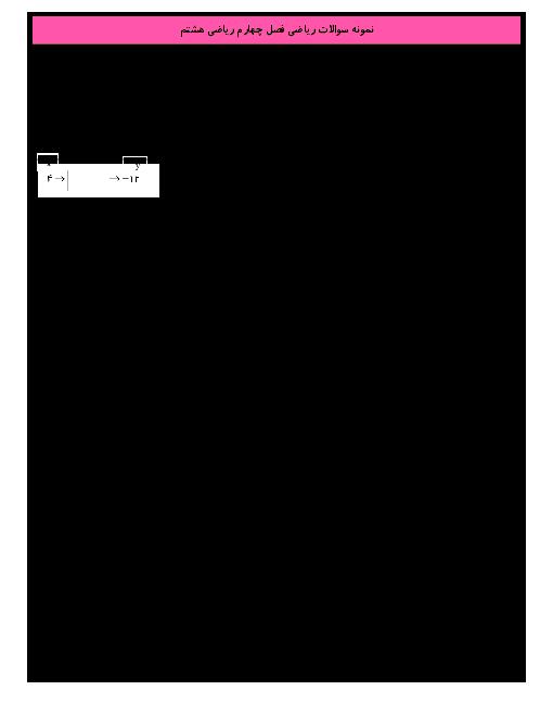 نمونه سوال فصل 4 ریاضی هشتم| جبر و معادله