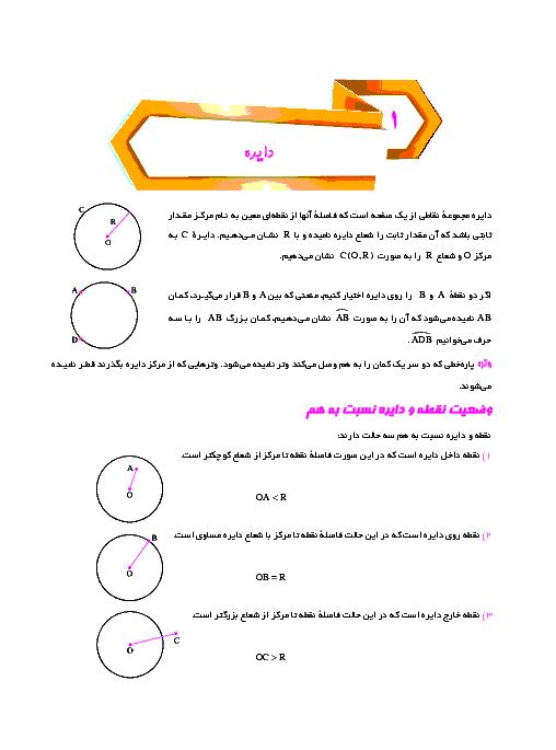 درسنامه آموزشی هندسه (2) پایه یازدهم رشته ریاضی | فصل 1: دایره