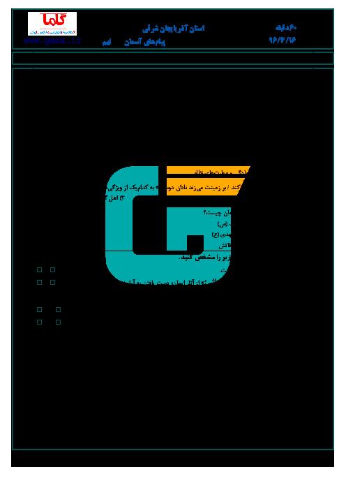 سؤالات و پاسخنامه امتحان هماهنگ استانی نوبت دوم خرداد ماه 96 درس پیامهای آسمان پایه نهم | استان آذربایجان شرقی