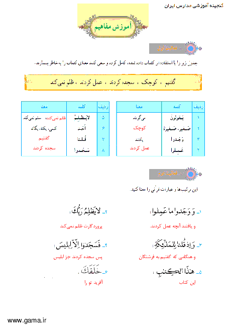 پاسخ فعالیت و انس با قرآن در خانه آموزش قرآن هفتم| جلسه دوم درس 8: سوره کهف