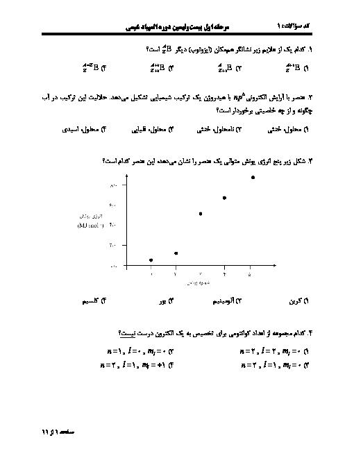 آزمون مرحله اول بیست و نهمین المپیاد شیمی کشور با پاسخ کلیدی | بهمن 1397
