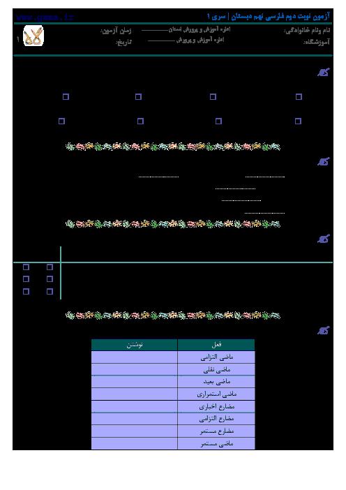 نمونه سوالات آزمون نوبت دوم فارسی نهم با پاسخنامه | سری 1