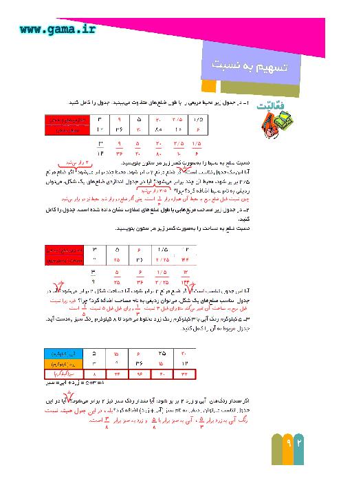 راهنمای گام به گام ریاضی ششم | فصل 5 : تسهیم به نسبت