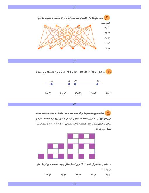 سوالات آمادگی مسابقات ریاضی ششم دبستان | فصل 2: کسر تا فصل 4: تقارن و مختصات