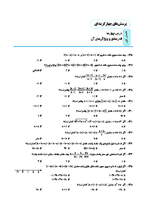 118 سوال تستی حسابان (1) پایه یازدهم رشته ریاضی   فصل اول- درس 4: قدر مطلق و ویژگی های آن
