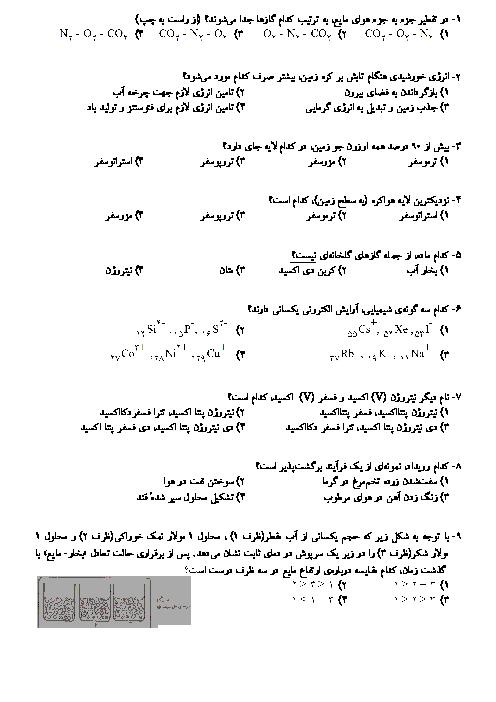 سوالات تستی شیمی (1) دهم رشته رياضی و تجربی با کلید    فصل دوم: ردِّپای گازها در زندگی