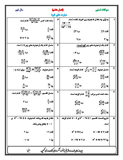 آزمون تستی ریاضی نهم   فصل هفتم: عبارت های گويا