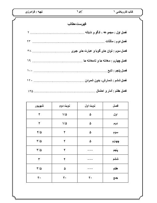 کتاب کار و تمرین ریاضی دهم رشتههای علوم تجربی و ریاضی   فصل 1 تا 7