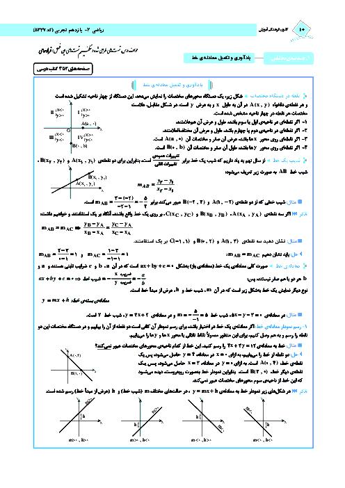 درسنامه و 108 سوال تستی ریاضی (2) رشته تجربی | فصل اول- درس 1 و 2