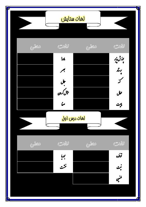 راهنمای معنی لغات  ادبیات فارسی هشتم | ستايش تا درس 8: آزادگی