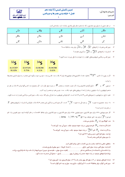 آزمونک شیمی (1) دهم رشته رياضی و تجربی با جواب | فصل اول: طبقهبندی عنصرها و جرم اتمی