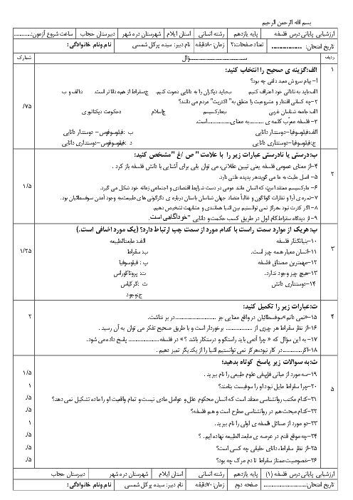 امتحان نوبت اول فلسفه یازدهم رشته ادبیات و علوم انسانی دبیرستان حجاب دره شهر - دیماه 96