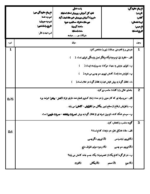 آزمون نوبت دوم فيزيک (1) دهم رشته رياضی دبیرستان دخترانۀ سما نجف آباد | خرداد 96