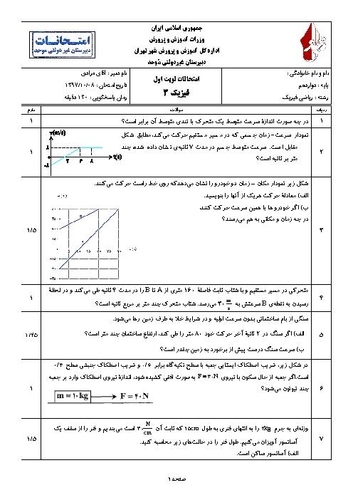 امتحان نوبت اول فیزیک (3) رشته علوم ریاضی دوازدهم دبیرستان موحد | دی 1397