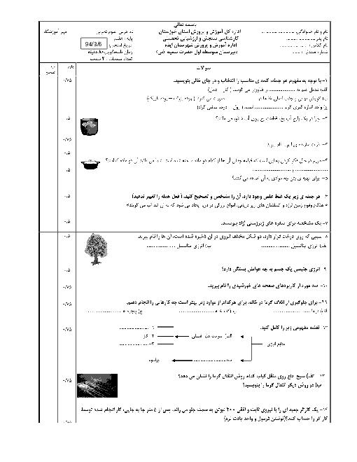امتحان نوبت اول علوم تجربی پایۀ هفتم دبیرستان دخترانه حضرت سمیه (س)   اردیبهشت 94