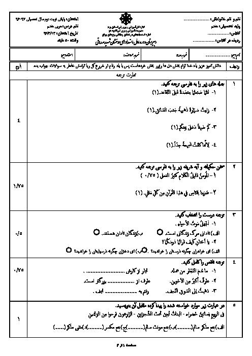 سؤالات امتحانات دروس نوبت دوم پایه هفتم دبیرستان تیزهوشان شهید صدوقی | خرداد 1397