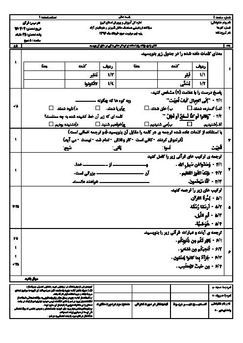 سؤالات و پاسخنامه امتحان هماهنگ استانی نوبت دوم خرداد ماه 96 درس آموزش قرآن پایه نهم | نوبت صبح و عصر استان البرز