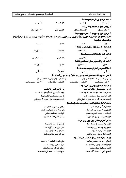 سوالات تستی فصل اول فارسی پایه هشتم دبیرستان سلام البرز + پاسخنامه تشریحی