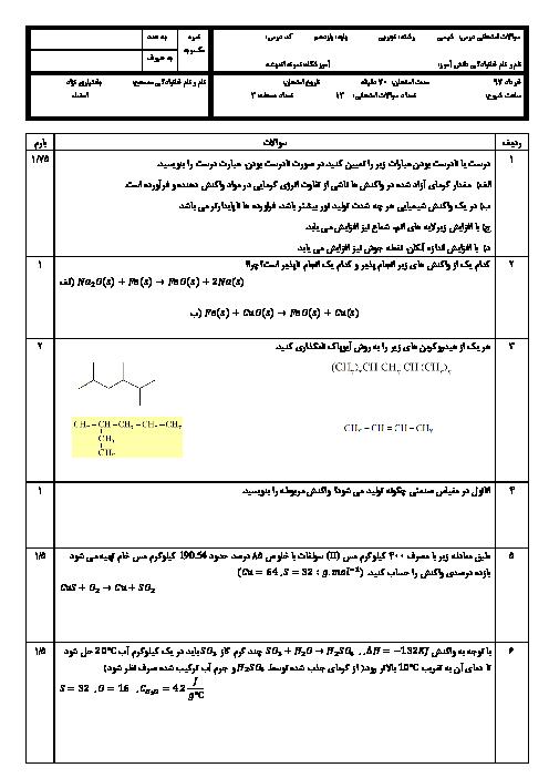 آزمون نوبت دوم شیمی (2) پایه یازدهم دبیرستان اندیشه | خرداد 1397