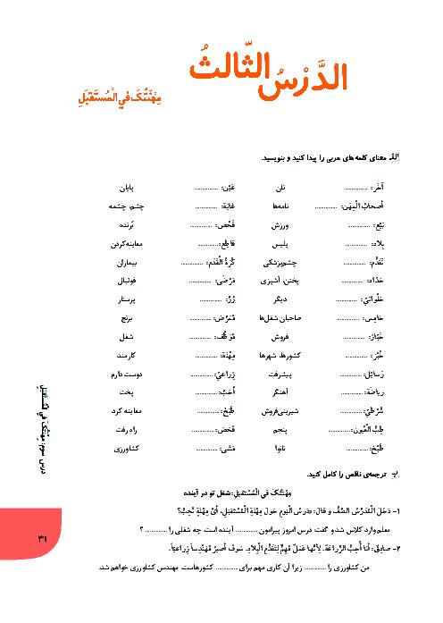 تمرین و ارزشیابی تکوینی عربی هشتم | الدرس الثالث: مهنتک فی المستفبل