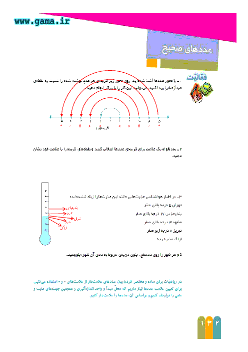 راهنمای گام به گام ریاضی ششم   فصل7 : عددهای صحیح