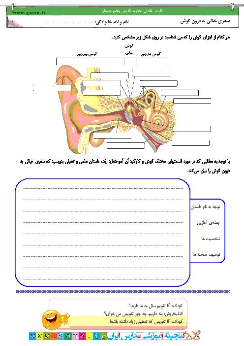 کار در خانه علوم و نگارش فارسی پنجم دبستان | سفر تخیلی درون گوش