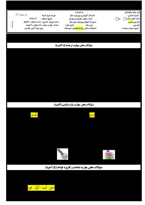 سوالات ارزشیابی پایانی درس عربی هفتم l خرداد ماه 94
