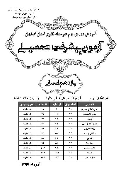 سوالات و پاسخ کلیدی آزمون پیشرفت تحصیلی پایه یازدهم رشته انسانی استان اصفهان | مرحله اول (آذر 97)