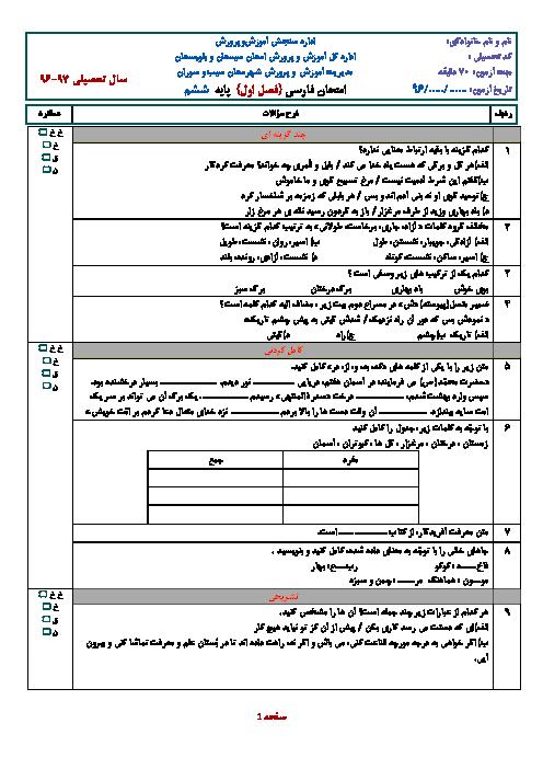 کاربرگ تمرین در خانه فارسی ششم ابتدائی | درس 1 و 2