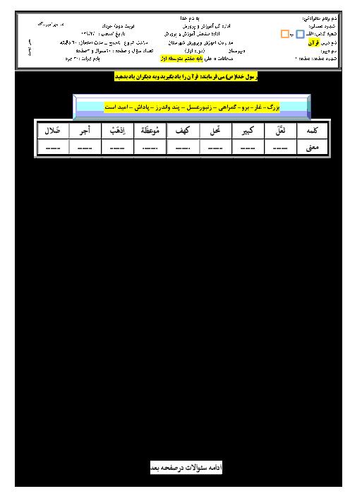 سوالات ارزشیابی پایانی درس قرآن هفتم l خرداد ماه 94