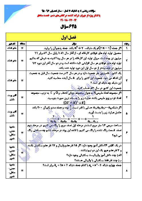 مجموعه سوال طبقه بندی شده ریاضی (1) دهم رشته رياضی و تجربی  | فصل 1 تا 7
