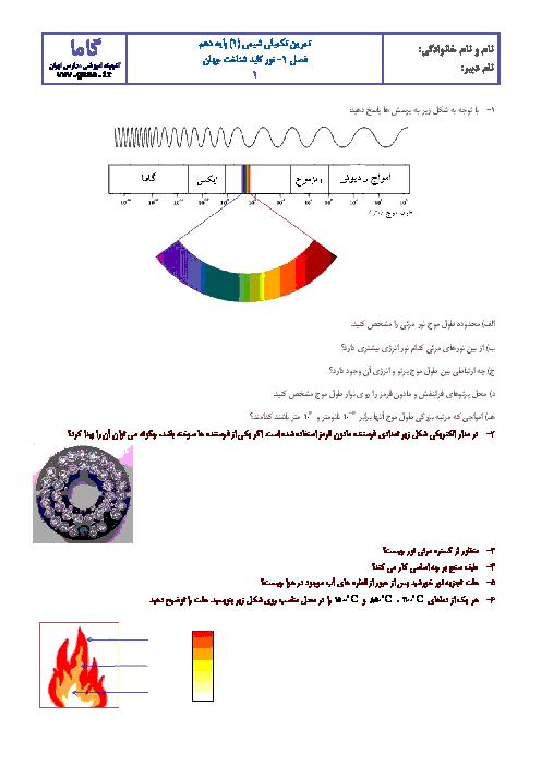 آزمونک شیمی (1) دهم رشته رياضی و تجربی با جواب   فصل اول: نور کلید شناخت جهان