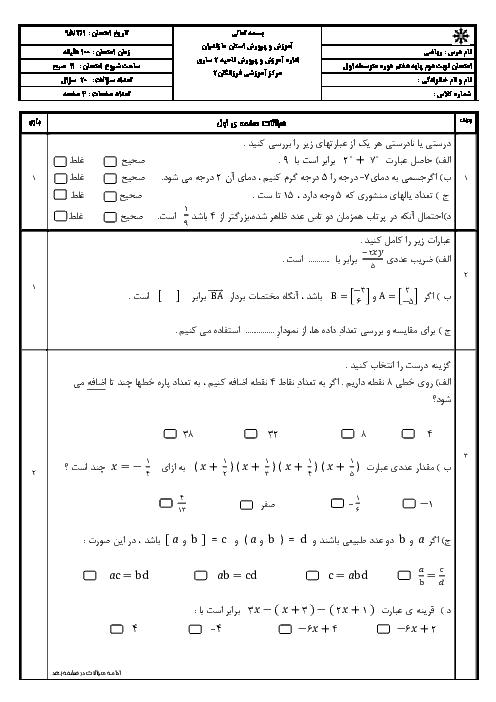 نمونه سوال امتحان نوبت دوم ریاضی هفتم دبیرستان فرزانگان ساری - خرداد 95