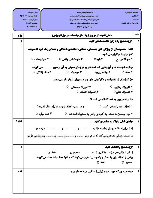 امتحان نوبت اول تفکر و سبک زندگی هفتم دبیرستان امام حسین (ع) مشهد