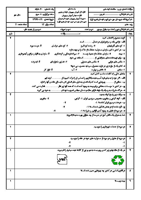 سوالات امتحان نوبت اول مطالعات اجتماعی هفتم دبیرستان مهر منیر شهرستان درمیان | دی 95