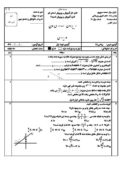 آزمون پیشرفته ریاضی (1) دهم رشته رياضی و تجربی نوبت اول دبیرستان نمونه دولتی ایزدی قم   دی 95