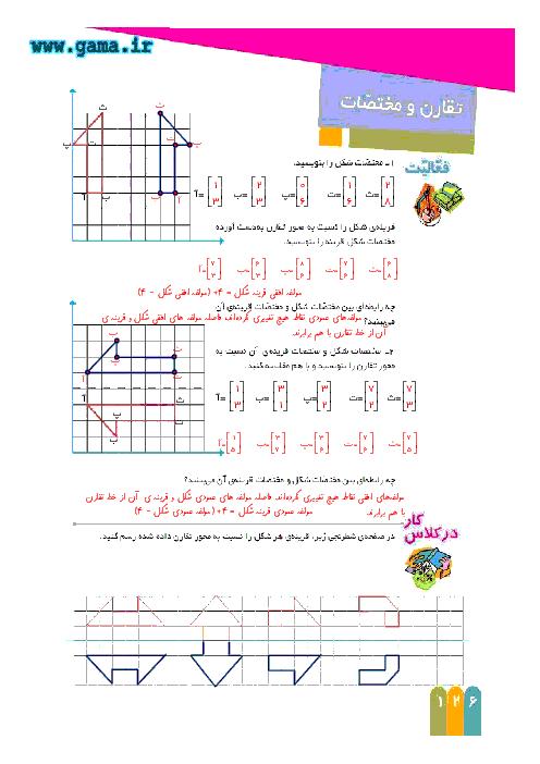 راهنمای گام به گام ریاضی ششم | فصل7 : تقارن و مختصات