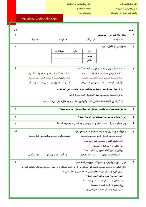 نمونه سوالات پایانی نوبت دوم درس ادبیات فارسی پایه نهم با پاسخنامه تشریحی   سری (3)