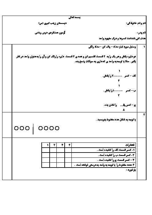آزمون عملکردی ریاضی چهارم دبستان حضرت زینب (س) | مبحث کسر