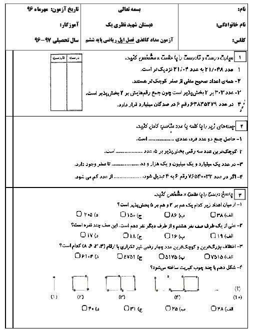 آزمون مداد کاغذی ریاضی ششم دبستان شهید محمد نظری یک  | ماهانۀ مهر: فصل 1: عدد و الگوهای عددی