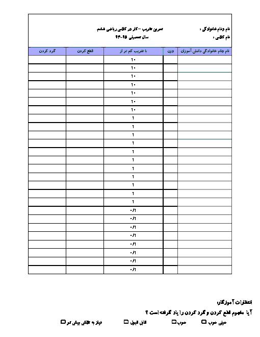 تمرین ریاضی ششم دبستان  | فصل 7: تقریب