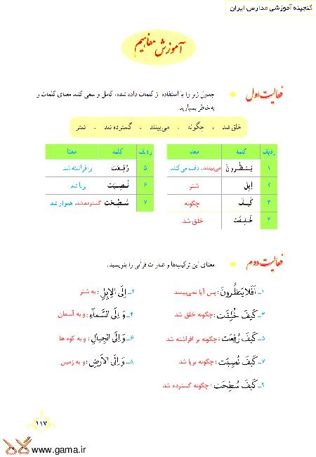 گام به گام آموزش قرآن نهم | پاسخ فعالیت ها و انس با قرآن درس 11: جلسه دوم (سوره غاشِیة)