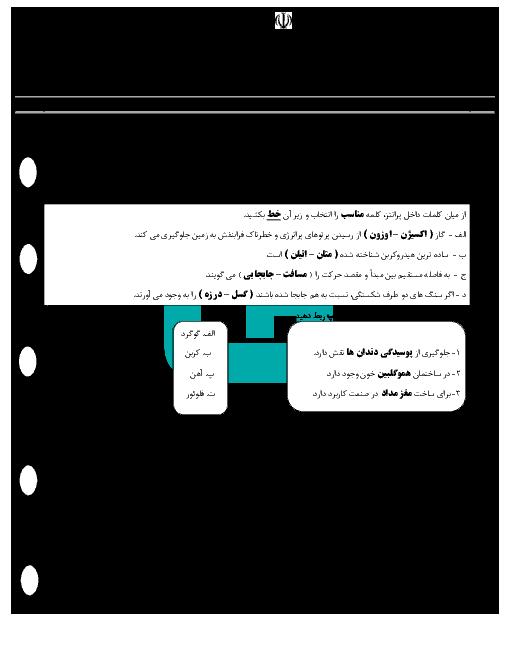 امتحان نوبت اول علوم تجربی نهم مدرسه شهید منصور پرهیزگار + جواب   دی 96: فصل 1 تا 7