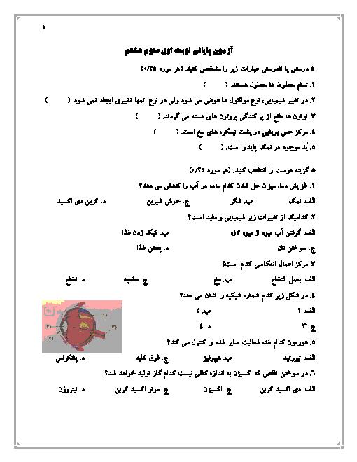 امتحان نوبت اول علوم تجربی هشتم مدرسۀ منتظران قائم پردیس | دی 96: فصل 1 تا 6