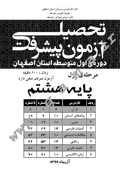 سوالات و پاسخ کلیدی آزمون پیشرفت تحصیلی پایه هشتم استان اصفهان   مرحله اول آذر 96