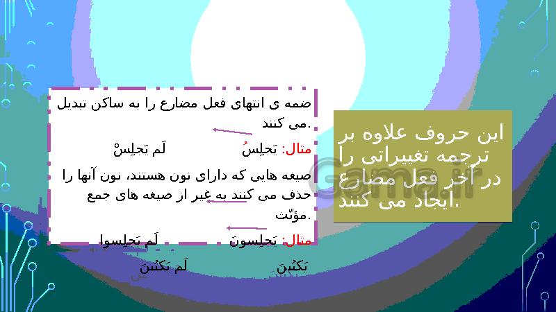 پاورپوینت قواعد درس 6 عربی (2) یازدهم | فعل مضارع مجزوم - پیش نمایش